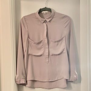 OAK + FORT Blush Blouse w/ Front Pocket Details